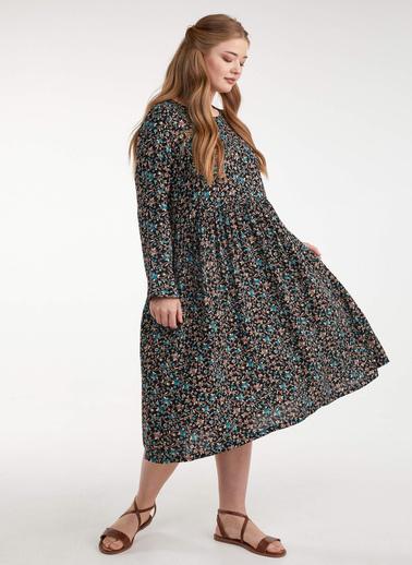 Sementa Kadın Uzun Kol Çiçek Desenli Elbise  Turkuaz
